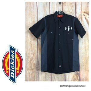 💸DICKIES S Black&Gray Button Down Work Shirt